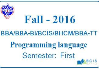 Programming language Fall 2016
