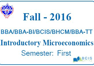 ntroductory Microeconomics Fall 2016