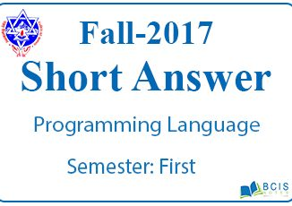 Very Short Questions Fall 2017