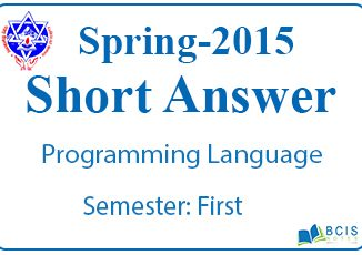Very Short Questions Spring 2015