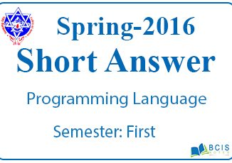 Very Short Questions Spring 2016