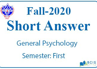 Very Short Questions Fall 2020