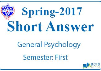 Very Short Questions Spring 2017