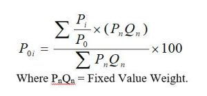 Weighted average of relative price index number