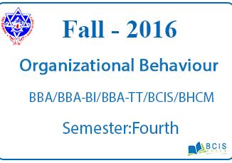 Fundamental of Organizational Behaviour || Fall, 2016 || Pokhara University ||BBA/BI/TT/BCIS/BHCM