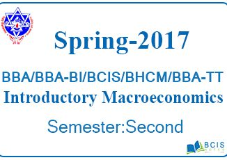 Introductory Macroeconomics Spring 2017